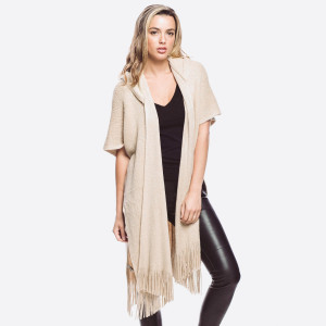 Soft knit cardigan with hood. 100% polyester.