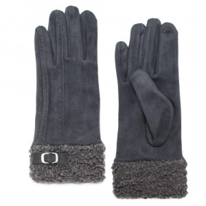 Faux suede gloves with faux fur trim and buckle detail. 90% polyester and 10% cotton.