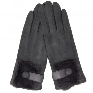 Faux suede glove with faux fur trim. 90% polyester and 10% cotton.