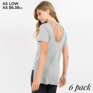 Skinny straps decorate an open back for an edgy, cool-girl appeal while short sleeves and a crewneck frame the silhouette. The hi-low hem features slit accents to complete the look.   • Short sleeves  • Crewneck  • Hi-low hemline with side slits  • Strappy open back detail  • Soft, stretchy knit construction  • Pull on/off closure  • Imported   Content: 95% Rayon, 5% Spandex   Pack Breakdown: 6pcs/pack. 2S: 2M: 2L