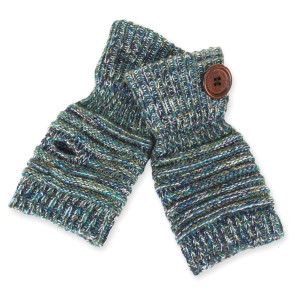 Cable knit glove with metallic accent and wooden button details.   - One size fits most - 65% Acrylic and 35% Wool