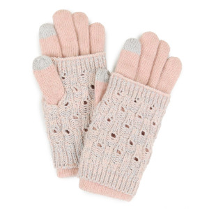 Layered glove with metallic detail and smart tips. 65% acrylic and 35% wool.