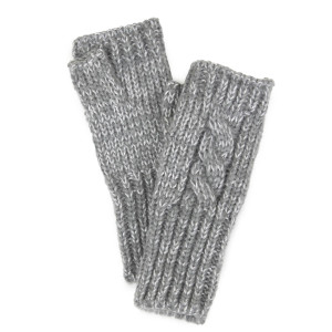 Cable knit fingerless gloves with metallic accent. 100% acrylic.