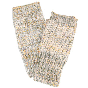 Mohair confetti knit fingerless gloves. 65% acrylic and 35% wool.