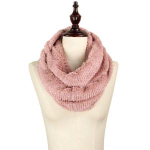Faux fur scarf with tube metallic detail.   - 100% Acrylic