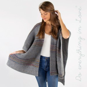 Striped knit ruana/kimono.  - One size fits most 0-14 - 100% Acrylic