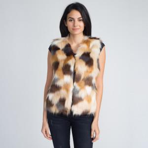 Multi colored faux fur vest. 100% acrylic.   Slim fit S/M.