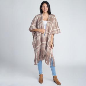 Heavyweight plaid print kimono. 100% acrylic.  One size fits most.