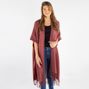 Solid color kimono with fringes.  - One size fits most 0-14 - 100% Acrylic