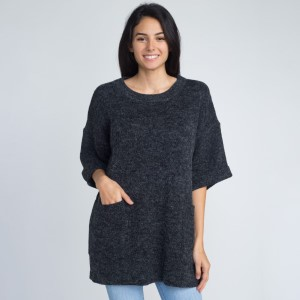 Light weight short sleeve sweater with pocket details.  - One size fits most 0-14 - 55% Acrylic, 45% Cotton