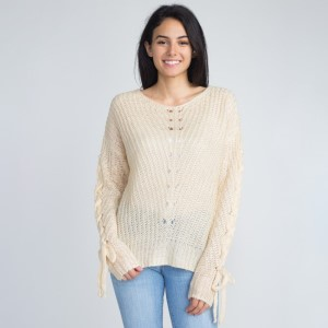 Lightweight sweater with arm tie detail. 55% acrylic and 45% cotton.   One size fits most sizes S-L.