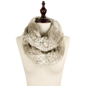 Animal print faux fur infinity scarf. 100% acrylic.