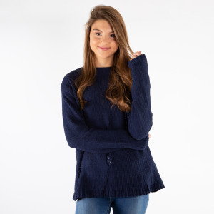 Distressed chenille sweater.   - One size fits most 0-14 - 55% Acrylic, 45% Cotton