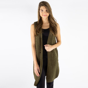 Ribbed vest. One size fits most. 100% acrylic.
