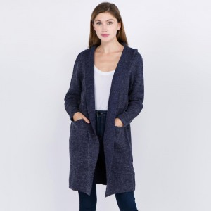 Hooded cardigan with front pocket details.   - One size fits most 0-14 - 55% Acrylic, 45% Cotton
