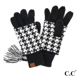 C.C CG-12 Houndstooth ribbed glove  - 100% Acrylic - One size fits most