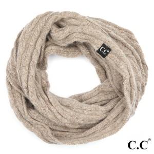 """INF-402-CC Genuine ribbed infinity scarf. 20% Angora, 80% Acrylic. One size- 15w""""X57""""h."""