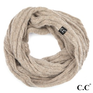 "C.C INF-402 Genuine ribbed infinity scarf  - 20% Angora, 80% Acrylic - One size fits most - W:15"" X H:57"""