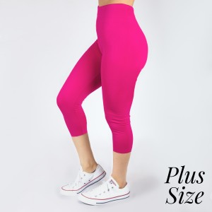 PLUS SIZE - New Kathy / New Mix white, summer-weight capris are seamless, chic, and a must-have for every wardrobe. These lightweight, interchangeable styles are versatile, perfect for layering, and available in many shades. Smooth fabric, 92% Nylon 8% Spandex. One size, fits US women's 16-20.