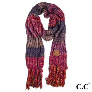 "C.C SF-1816 Multicolor knitted scarf  - 100% Acrylic - One size fits most - W:13"" X L:97"" + Fringe:7"""