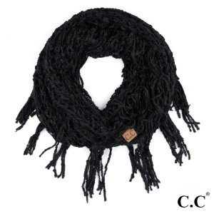 """C.C INF-100  Chenille infinity scarf with tassels  - 100% Polyester - One size fits most - W:12"""" X L:60"""""""
