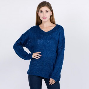 Knitted loose fitting sweater.   - One size fits most 0-14 - 55% Acrylic, 45% Cotton
