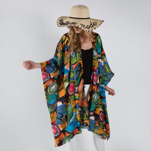 Abstract print kimono/ cover-up.  35%rayon 65% cotton.