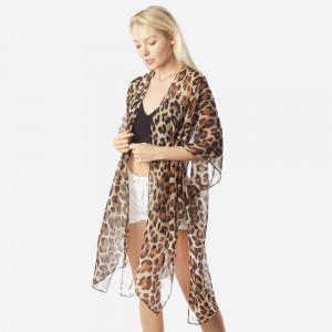 Long sheer leopard print kimono. One size 100% polyester. Fits most 0-14.