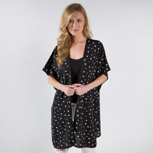 Light weight sheer kimono top or cover up. 100% polyester