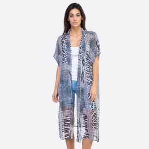 "Multi animal print belt kimono.  29 1?2""X45"" 100% POLYESTER"
