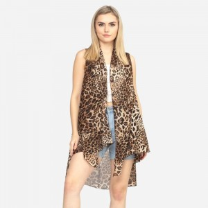 "Mixed animal print vest.  74 3/4""X45"" 100% POLYESTER"