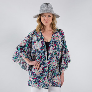 Solid color ruffle sleeves kimono. 55% cotton- 45% viscose.