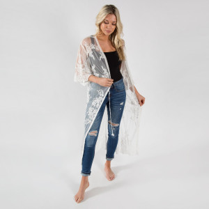 """Lightweight white lace kimono with waist tie. One size fits most 0-14. 50% cotton 50% polyester.  40"""" in length."""