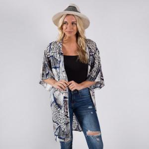 "Animal Print, Snake Print Kimono 100% Viscose One Size Fits most (39""L)"