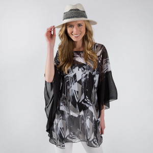 Light weight abstract print chiffon poncho. 100% polyester.