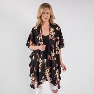 Lightweight floral print ruffle kimono. 100% polyester.