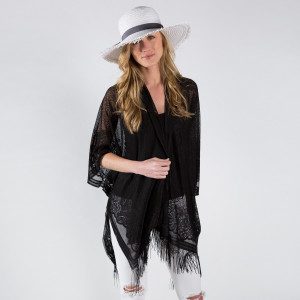 Flower lace kimono with tassel. 100% polyester. Fits most 0-14.