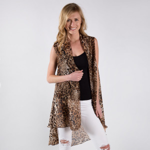 Leopard Print Chiffon Vest 100% Polyester One size fits most