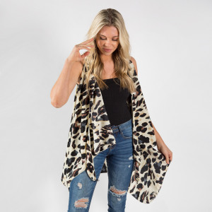 """Leopard print Vest/Cover Up 100% Polyester One Size Rits Most (37.5""""L)"""