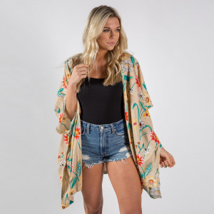 Beige flower print kimono. 100% viscose.