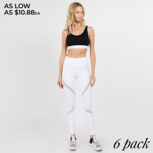 These lightweight mid-rise leggings offer maximum comfort and effortless style to get you through your workout. Our mesh panel active leggings are flattering and squat proof, perfect for all low to high impact activity. Four way stretch fabric moves with you with an elasticized waistband for added support. Stylish mesh panels elongate the legs and allow for breath-ability. Zip pocket along back waistband helps keep your must haves safe.   • 4-way-stretch fabric for a move-with-you feel  • Tummy-flattening waistband with back zip-pocket  • Flat-locked seaming for extra comfort  • Ankle-length   Composition: 75% Nylon, 25% Spandex   Pack Breakdown: 6pcs/pack. 2S: 2M: 2L