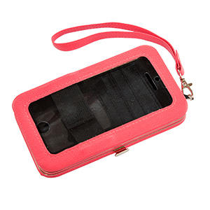 "Coral phone wallet featuring removable wrist strap, snap closure, id slot, and three credit card slots. Fits iPhone 4 or 5. Phone is usable without removal. Approximately 5 1/2"" x 3 1/4"" x 1""."