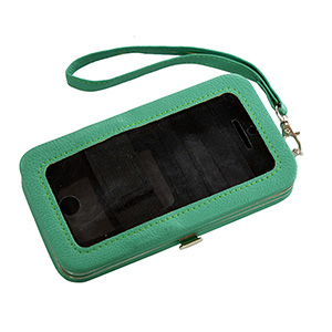 "Jade green phone wallet featuring removable wrist strap, snap closure, id slot, and three credit card slots. Fits iPhone 4 or 5. Phone is usable without removal. Approximately 5 1/2"" x 3 1/4"" x 1""."