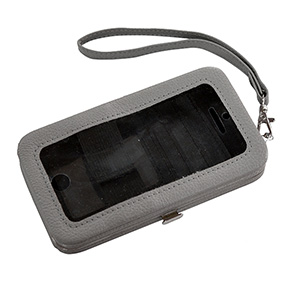 "Gray phone wallet featuring removable wrist strap, snap closure, id slot, and three credit card slots. Fits iPhone 4 or 5. Phone is usable without removal. Approximately 5 1/2"" x 3 1/4"" x 1""."