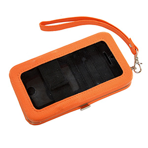 "Orange phone wallet featuring removable wrist strap, snap closure, id slot, and three credit card slots. Fits iPhone 4 or 5. Phone is usable without removal. Approximately 5 1/2"" x 3 1/4"" x 1""."