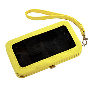 "Yellow phone wallet featuring removable wrist strap, snap closure, id slot, and three credit card slots. Fits iPhone 4 or 5. Phone is usable without removal. Approximately 5 1/2"" x 3 1/4"" x 1""."