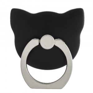 Cat head cell phone finger holder with 360 degree rotation on ring stand. Ring includes rhinestones.