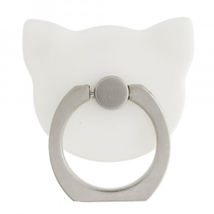 Cat cell phone finger holder with 360 degree rotation on ring stand. Includes a car dashboard hook.