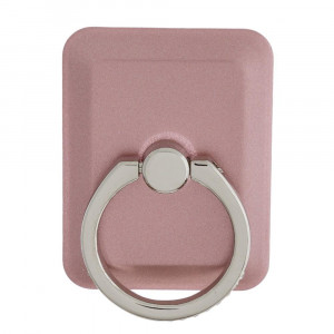 Rounded corner rectangular cell phone finger holder with 360 degree rotation on ring stand. Ring includes rhinestones.