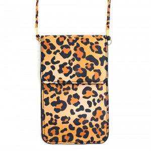 "Leopard print cellphone cross body bag featuring inside pockets, a clear back and snap closure. Includes a 25"" attachable strap. Approximately 4"" wide x 7"" tall in size. Approximately 31"" in length overall.  - Composition: 100% PU"